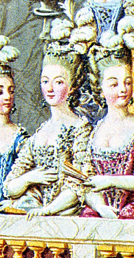 Marie-Antoinette and Style The-Coronation-of-Louis-XVI-detail-of-Marie-Antoinette-with-her-ladies-in-the-grandstand